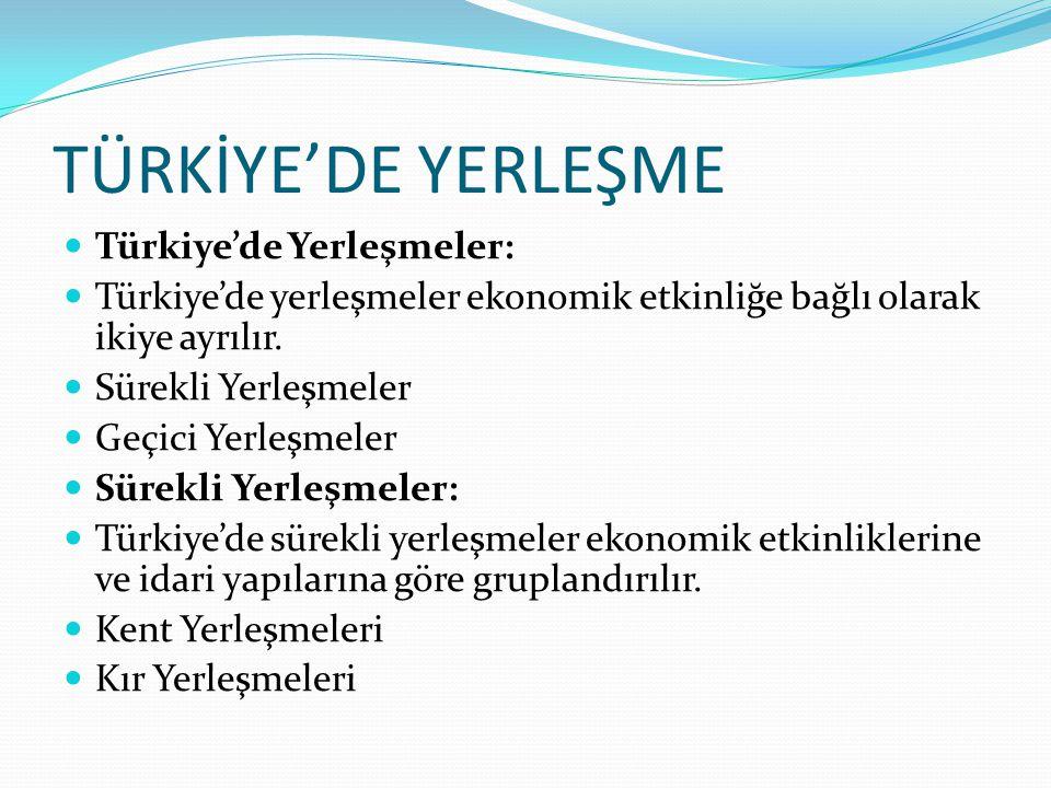 TÜRKİYE'DE YERLEŞME Türkiye'de Yerleşmeler: