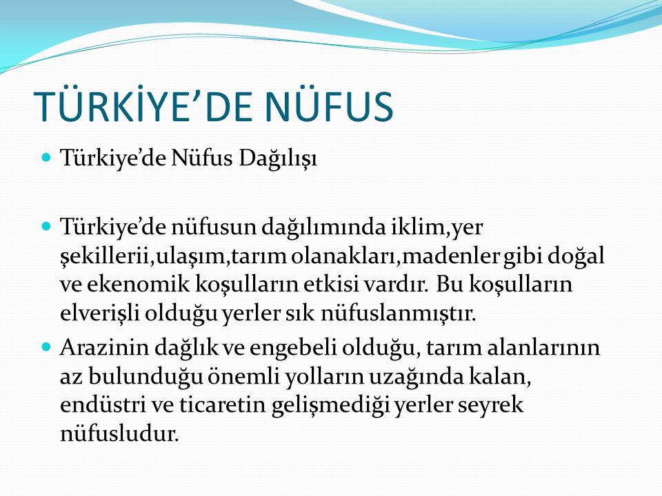 TÜRKİYE'DE NÜFUS Türkiye'de Nüfus Dağılışı