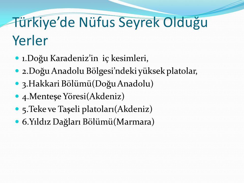 Türkiye'de Nüfus Seyrek Olduğu Yerler