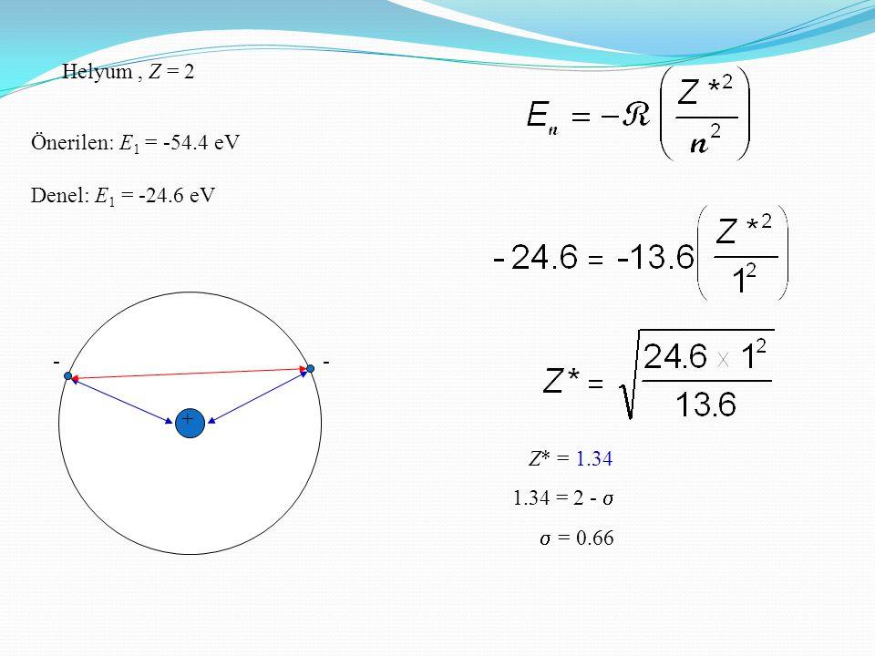 Helyum , Z = 2 Önerilen: E1 = -54.4 eV Denel: E1 = -24.6 eV - +