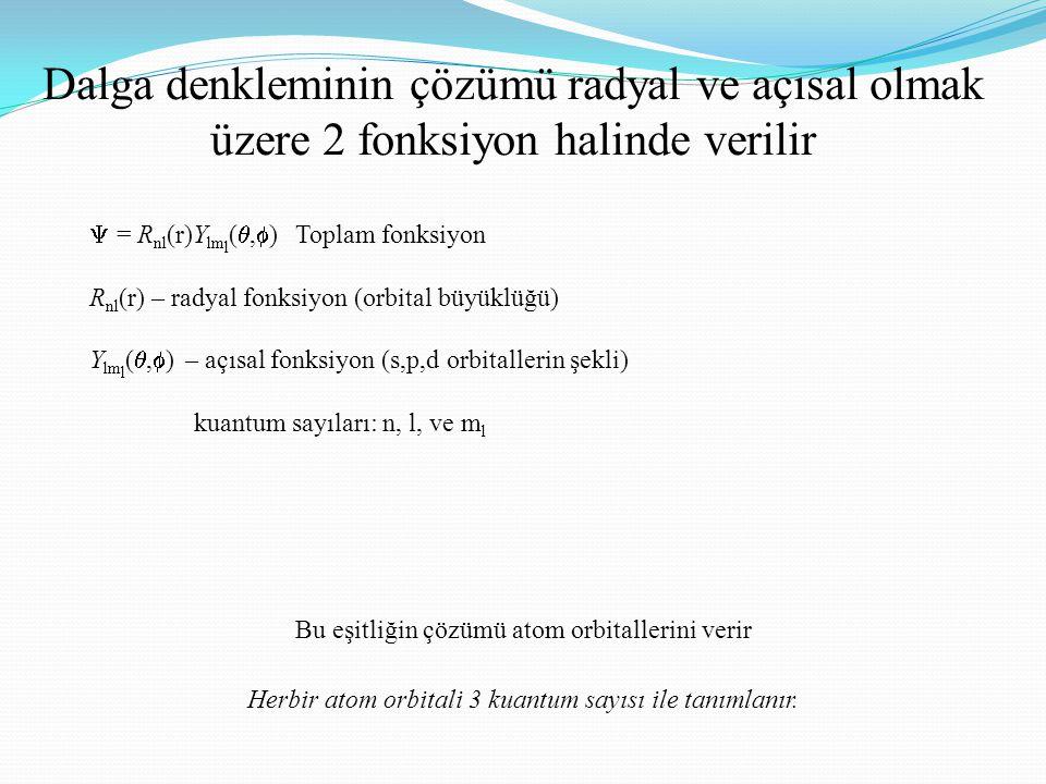 Dalga denkleminin çözümü radyal ve açısal olmak üzere 2 fonksiyon halinde verilir