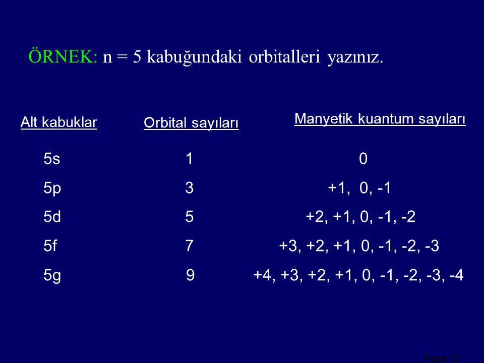 ÖRNEK: n = 5 kabuğundaki orbitalleri yazınız.