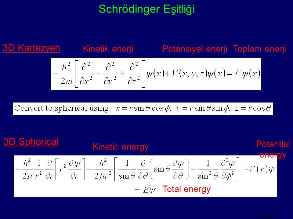 Schrödinger Eşitliği 3D Kartezyen 3D Spherical Kinetik enerji