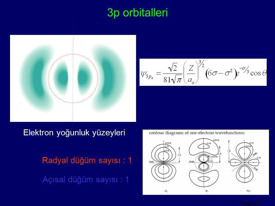 3p orbitalleri Elektron yoğunluk yüzeyleri Radyal düğüm sayısı : 1