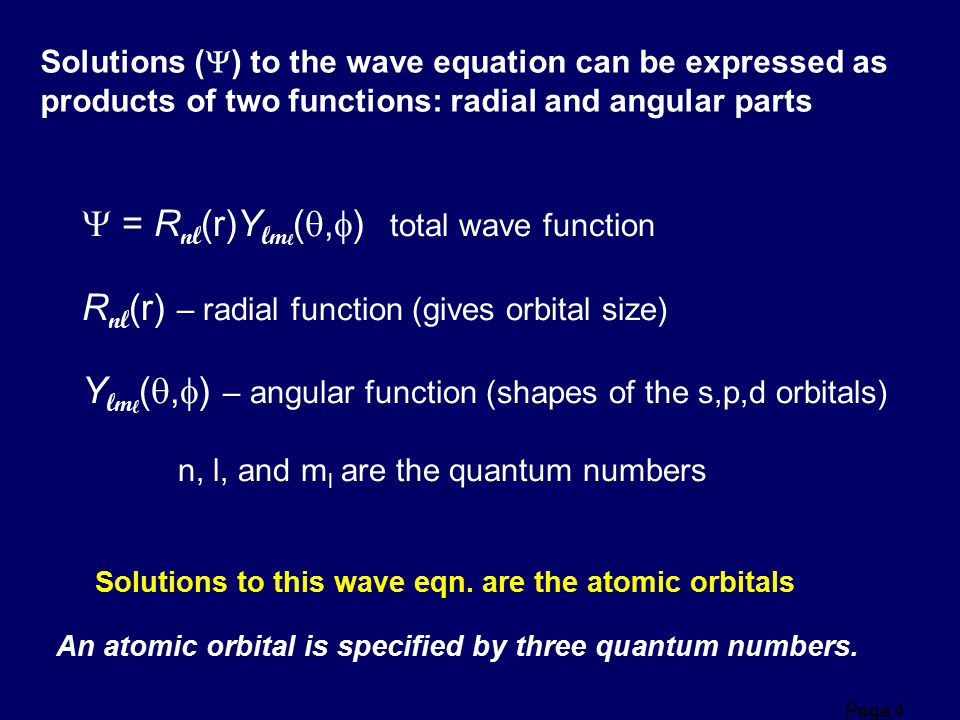 = Rnl(r)Ylml(,) total wave function