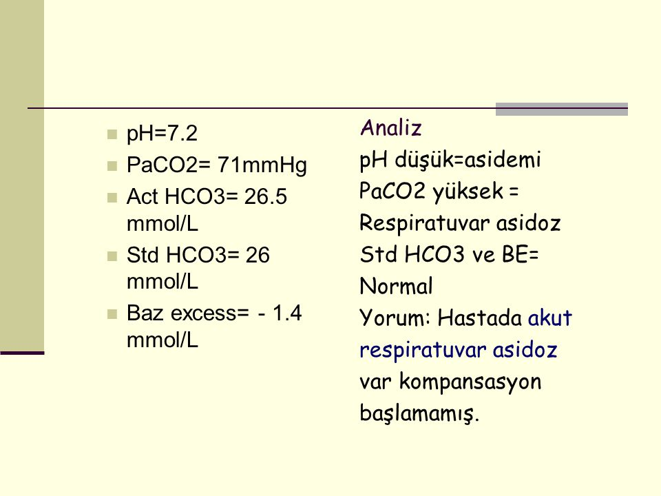 pH=7.2 PaCO2= 71mmHg. Act HCO3= 26.5 mmol/L. Std HCO3= 26 mmol/L. Baz excess= - 1.4 mmol/L. Analiz.