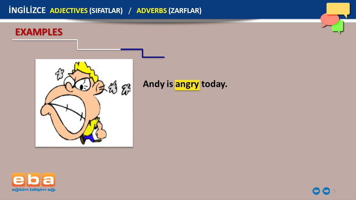 EXAMPLES Andy is angry today.