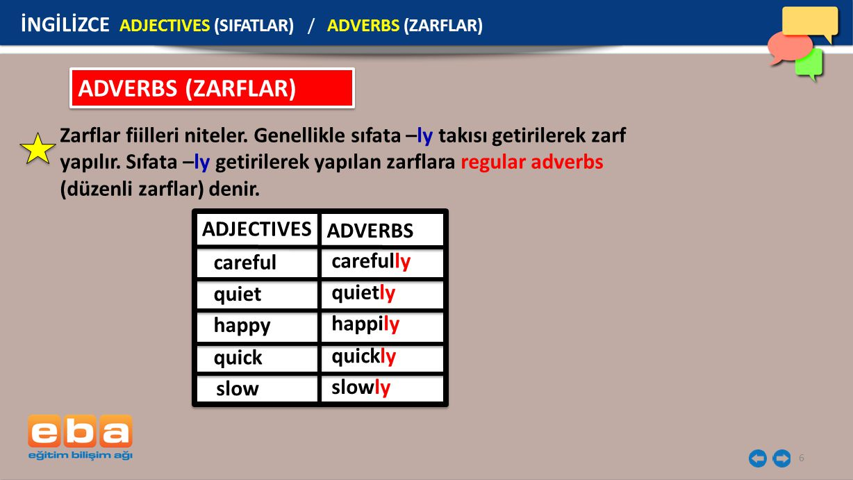 ADVERBS (ZARFLAR) İNGİLİZCE ADJECTIVES (SIFATLAR) / ADVERBS (ZARFLAR)