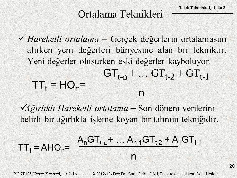 Ortalama Teknikleri GTt-n + … GTt-2 + GTt-1 TTt = HOn= n n