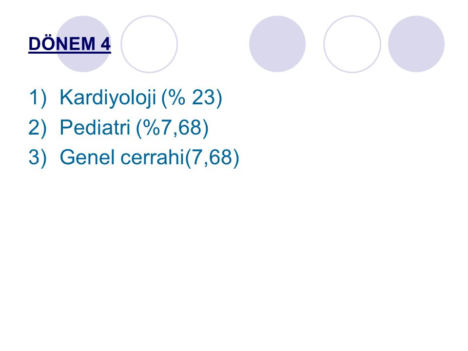 DÖNEM 4 Kardiyoloji (% 23) Pediatri (%7,68) Genel cerrahi(7,68)