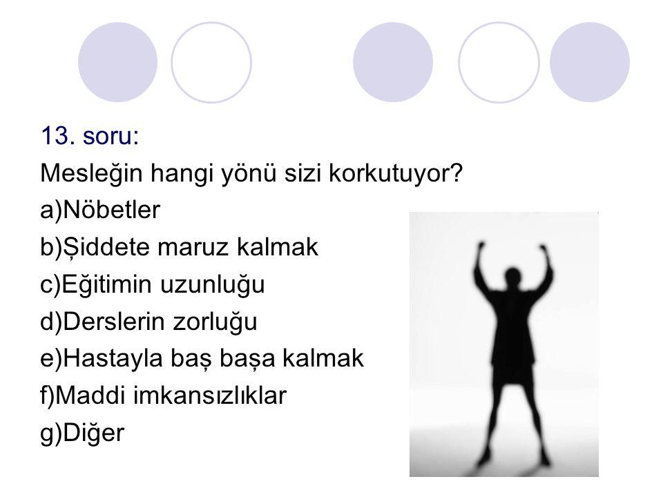 13. soru: Mesleğin hangi yönü sizi korkutuyor a)Nöbetler. b)Şiddete maruz kalmak. c)Eğitimin uzunluğu.