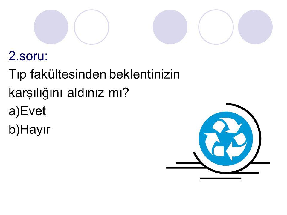 2.soru: Tıp fakültesinden beklentinizin karşılığını aldınız mı a)Evet b)Hayır