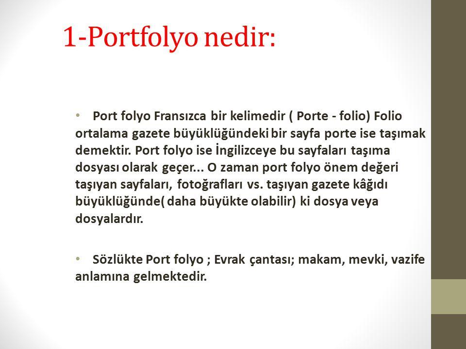 1-Portfolyo nedir: