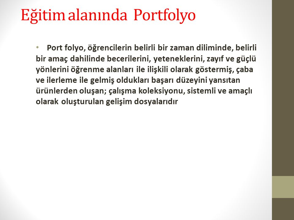 Eğitim alanında Portfolyo