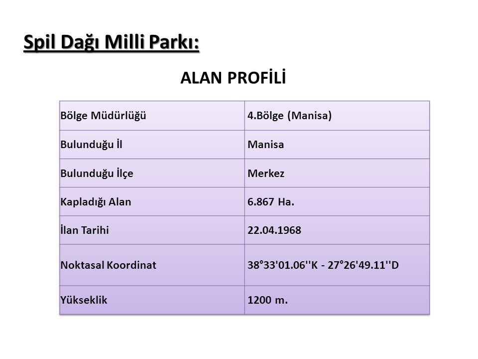Spil Dağı Milli Parkı: ALAN PROFİLİ Bölge Müdürlüğü 4.Bölge (Manisa)