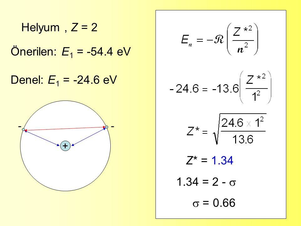 Helyum , Z = 2 Önerilen: E1 = -54.4 eV Denel: E1 = -24.6 eV Z* = 1.34
