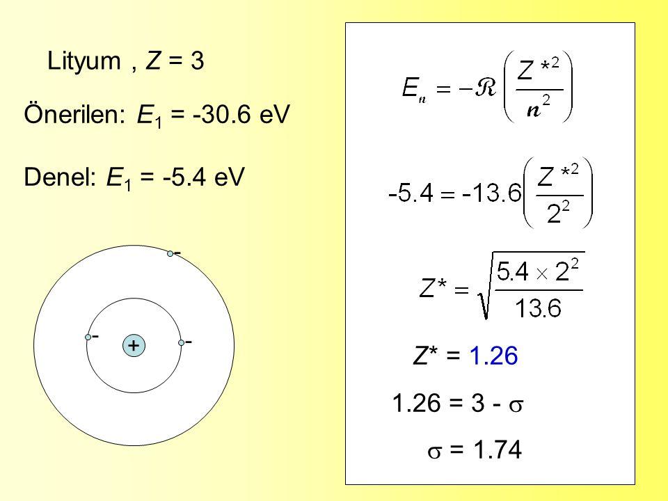 Lityum , Z = 3 Önerilen: E1 = -30.6 eV Denel: E1 = -5.4 eV Z* = 1.26