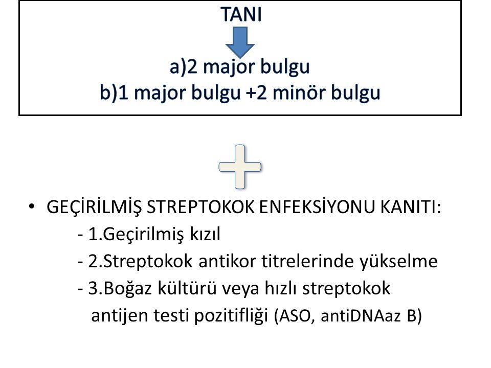 TANI a)2 major bulgu b)1 major bulgu +2 minör bulgu +