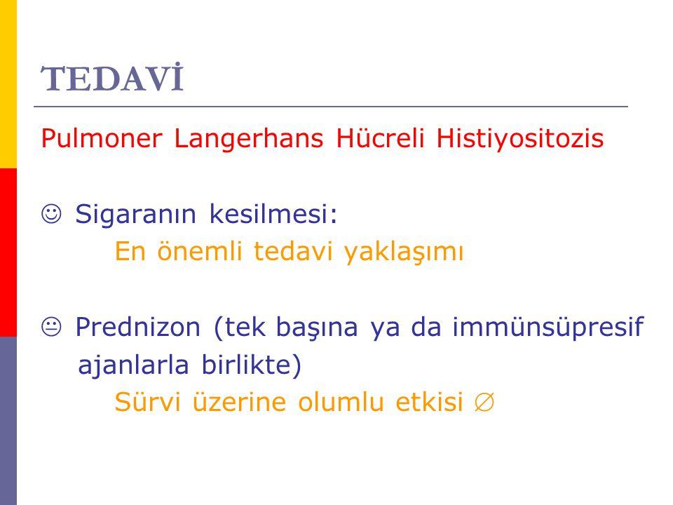 TEDAVİ Pulmoner Langerhans Hücreli Histiyositozis Sigaranın kesilmesi: