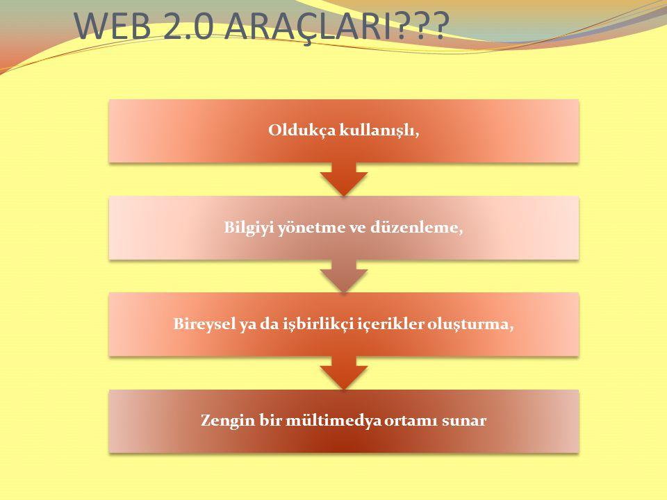 WEB 2.0 ARAÇLARI Bireysel ya da işbirlikçi içerikler oluşturma,