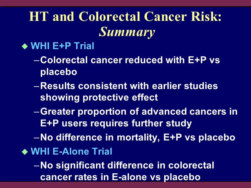 HT and Colorectal Cancer Risk: Summary