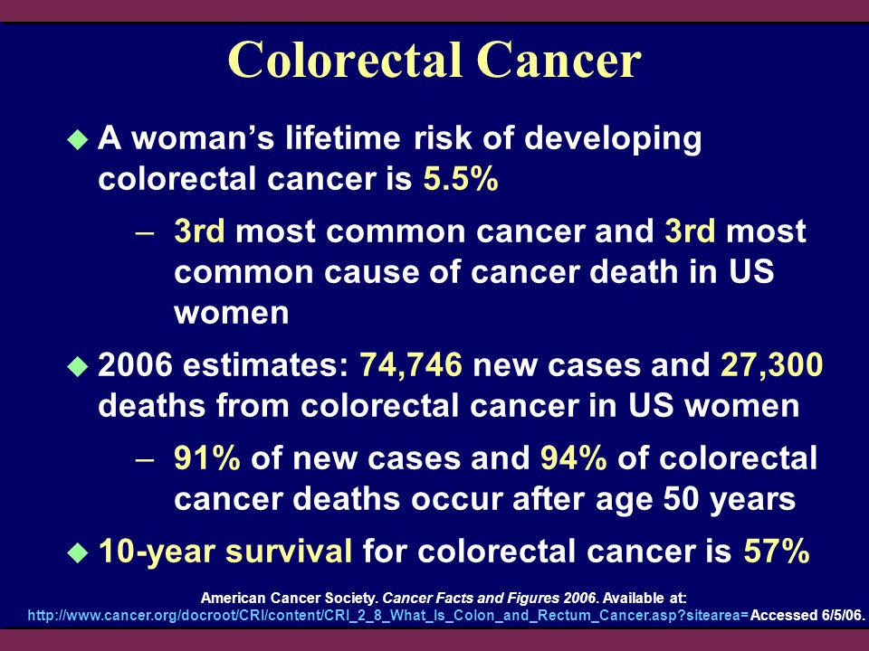 American Cancer Society. Cancer Facts and Figures 2006. Available at: