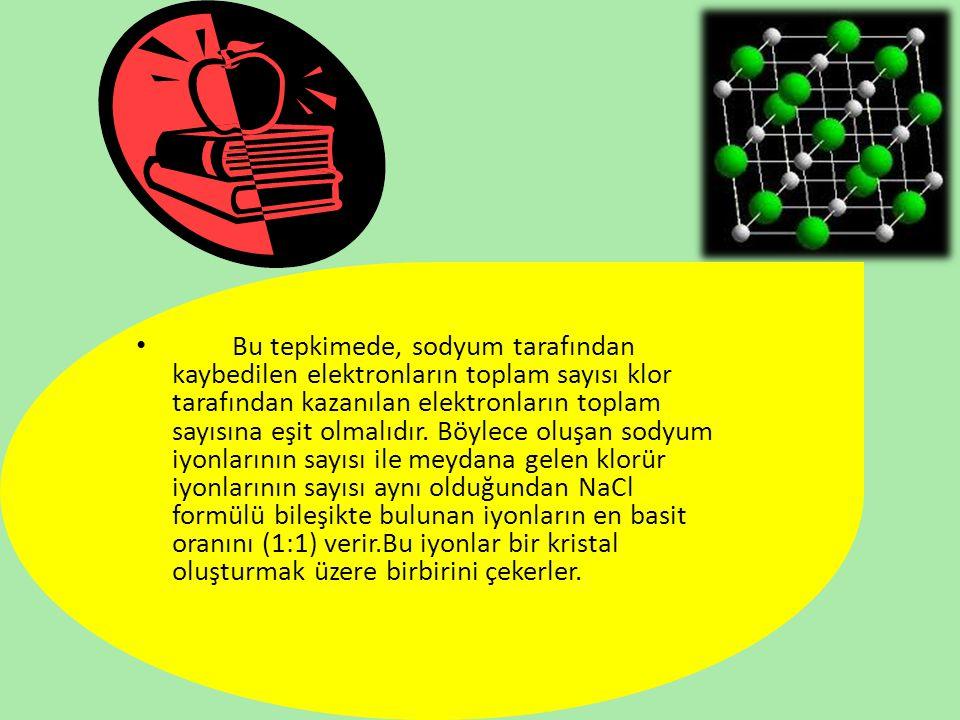 Bu tepkimede, sodyum tarafından kaybedilen elektronların toplam sayısı klor tarafından kazanılan elektronların toplam sayısına eşit olmalıdır.