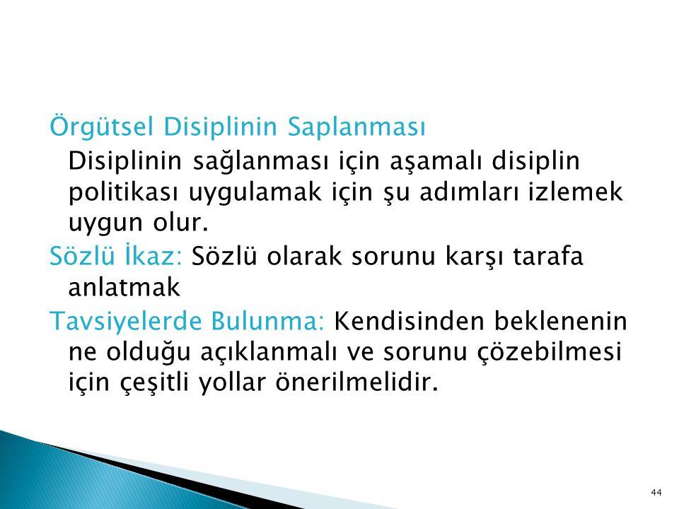 Örgütsel Disiplinin Saplanması Disiplinin sağlanması için aşamalı disiplin politikası uygulamak için şu adımları izlemek uygun olur.