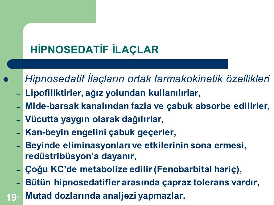 Hipnosedatif İlaçların ortak farmakokinetik özellikleri