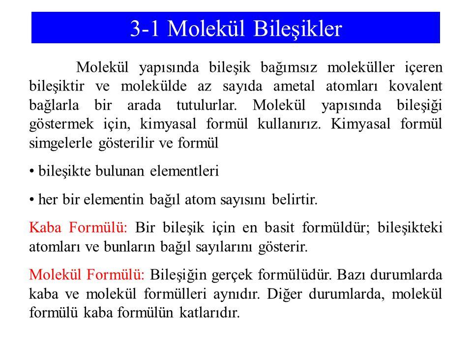 3-1 Molekül Bileşikler bileşikte bulunan elementleri