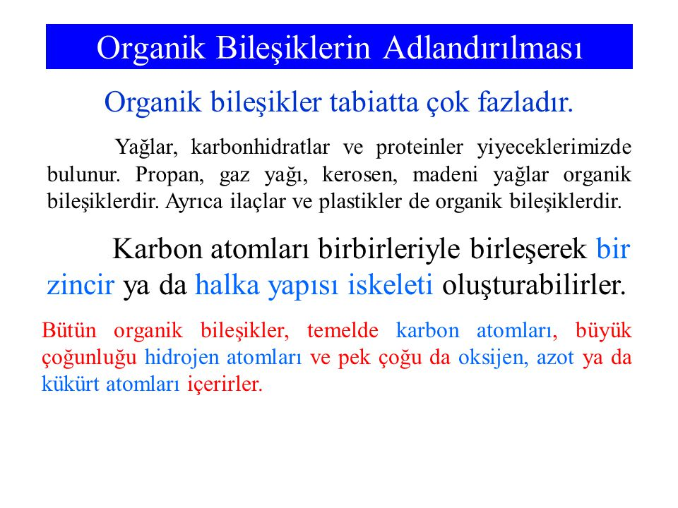 Organik Bileşiklerin Adlandırılması