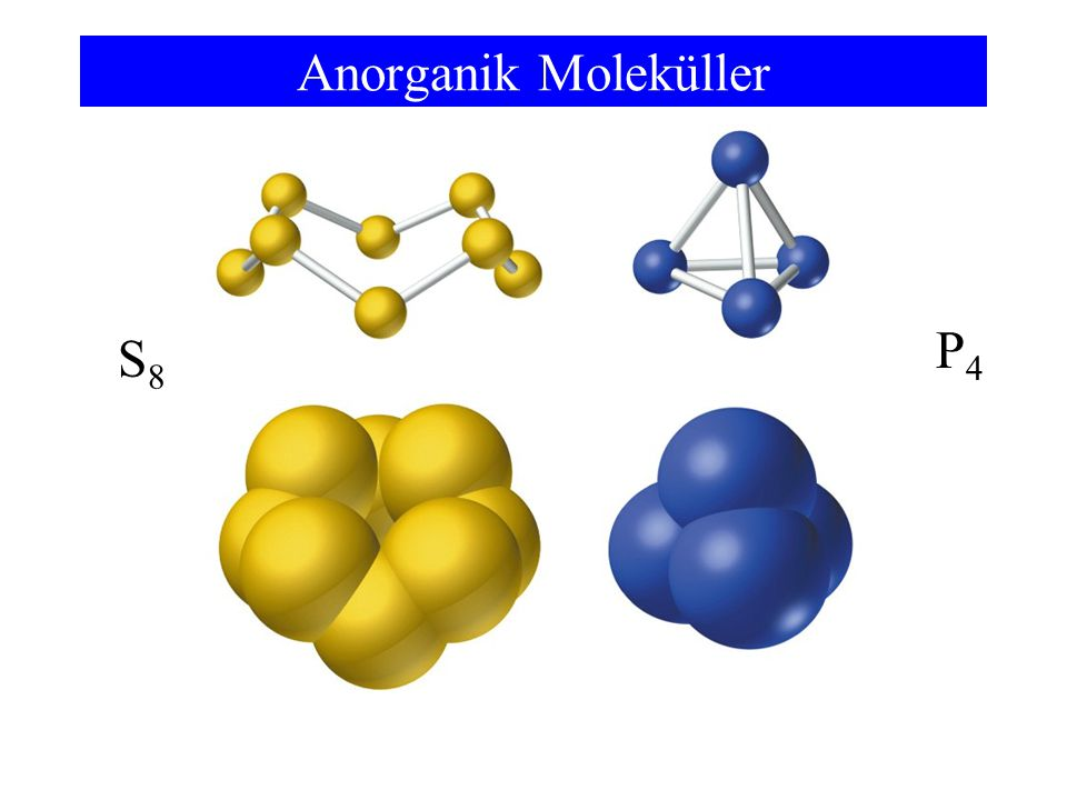 Anorganik Moleküller P4 S8 Some inorganic compounds for molecules