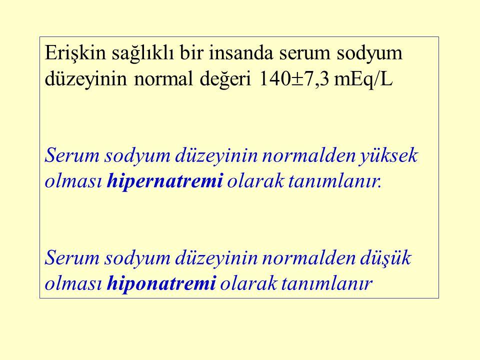 Erişkin sağlıklı bir insanda serum sodyum düzeyinin normal değeri 1407,3 mEq/L