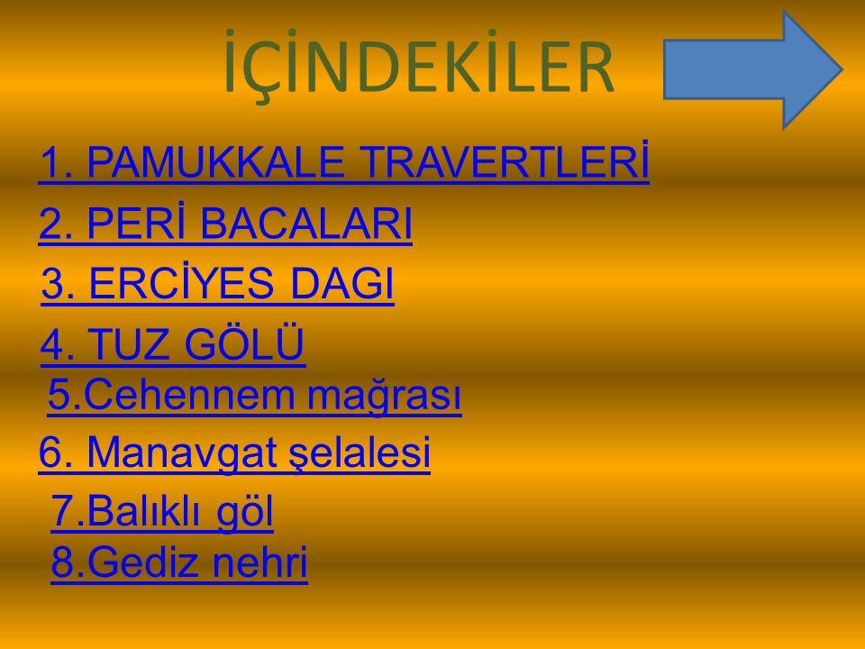 İÇİNDEKİLER 1. PAMUKKALE TRAVERTLERİ 2. PERİ BACALARI 3. ERCİYES DAGI