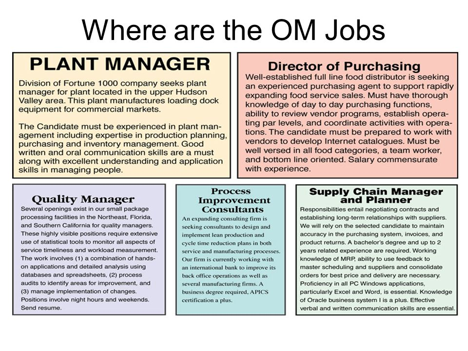 Where are the OM Jobs