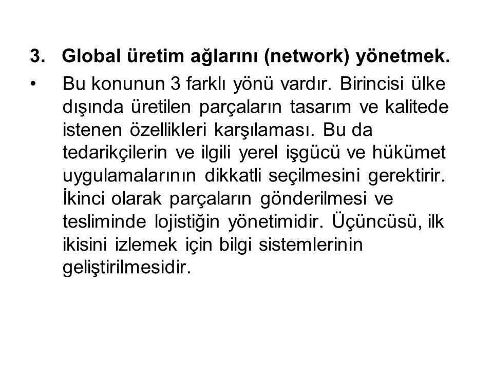 3. Global üretim ağlarını (network) yönetmek.