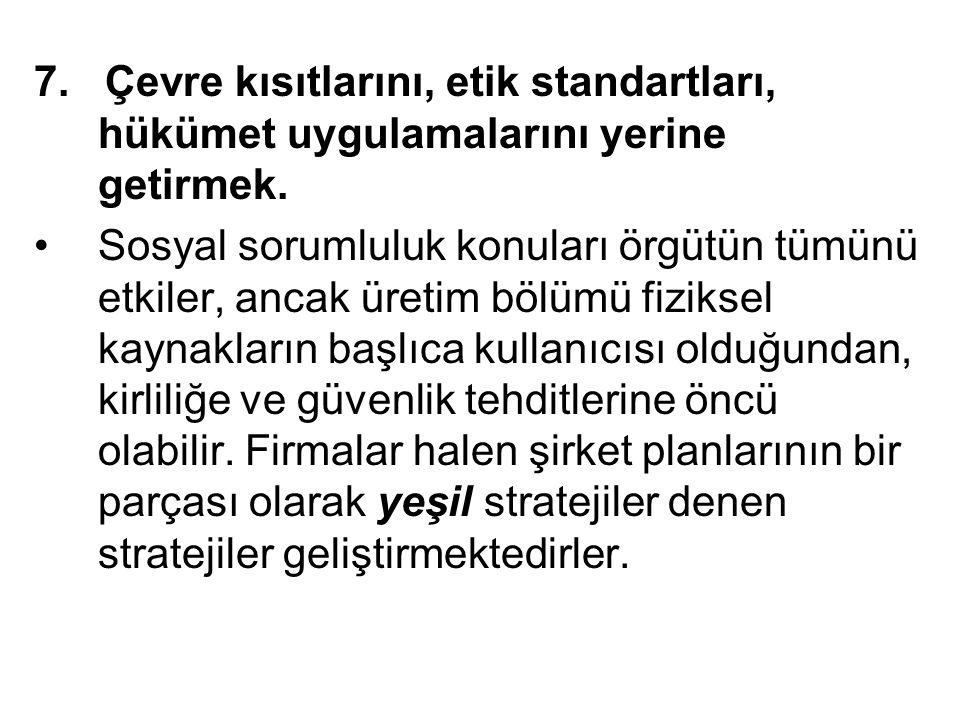 7. Çevre kısıtlarını, etik standartları, hükümet uygulamalarını yerine getirmek.