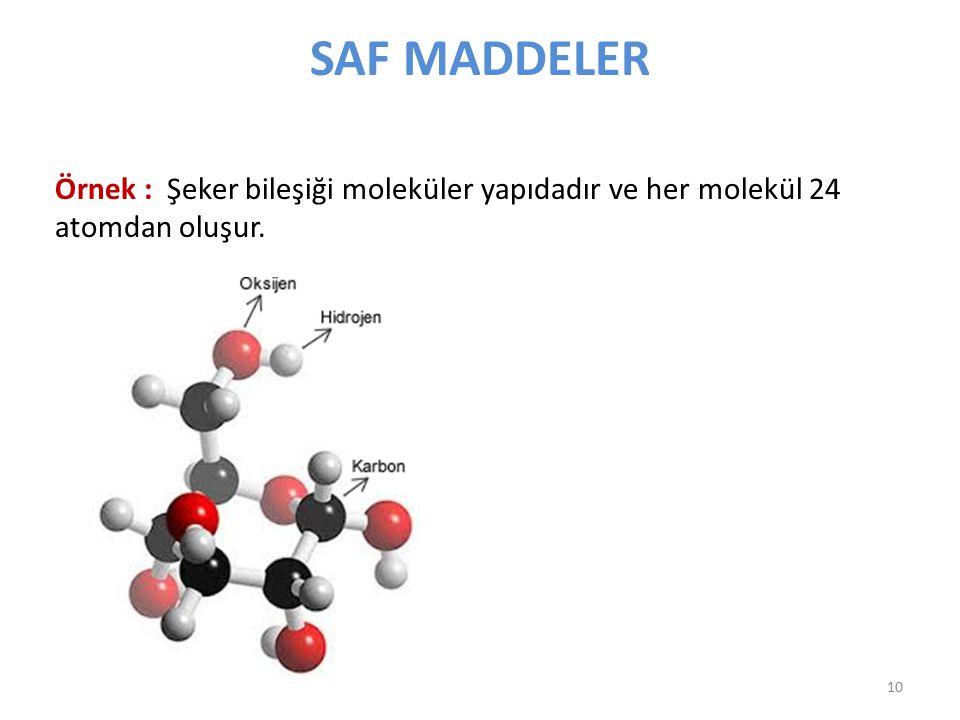 SAF MADDELER Örnek : Şeker bileşiği moleküler yapıdadır ve her molekül 24 atomdan oluşur.