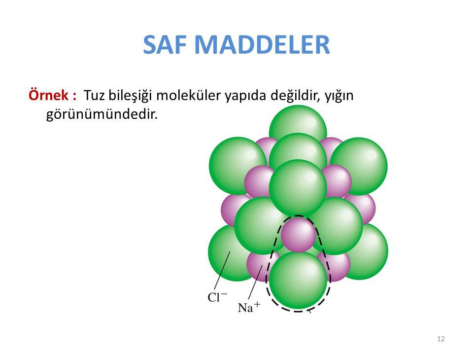 SAF MADDELER Örnek : Tuz bileşiği moleküler yapıda değildir, yığın görünümündedir.