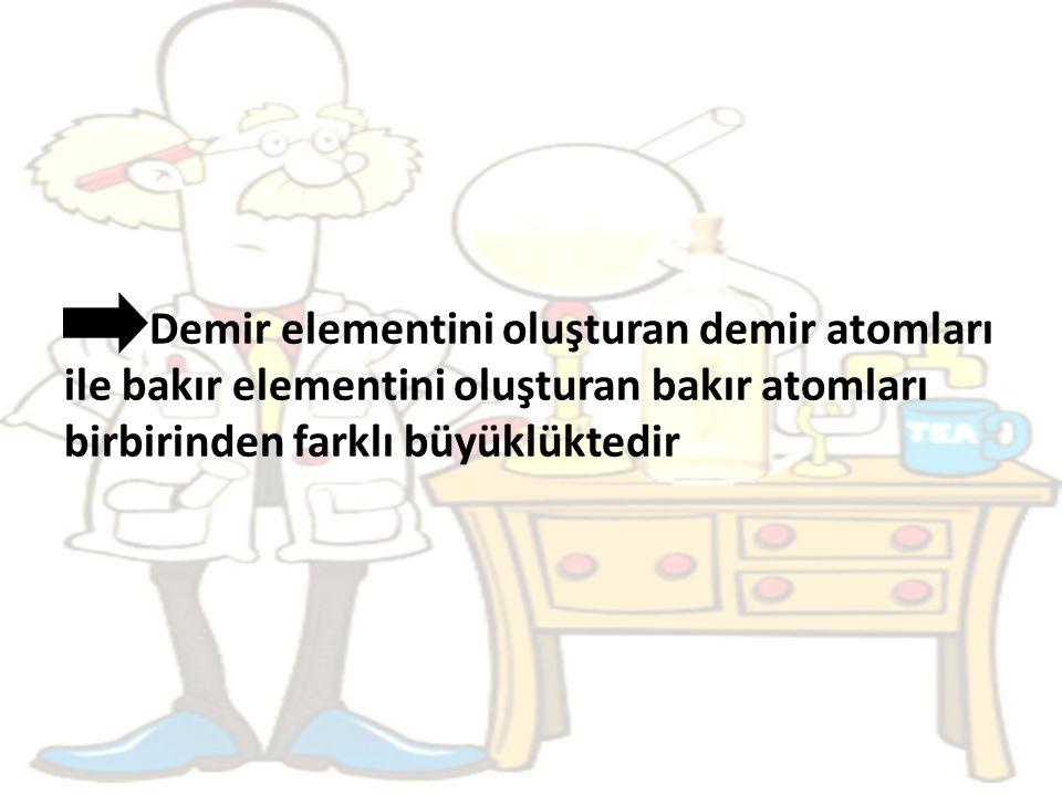 Demir elementini oluşturan demir atomları ile bakır elementini oluşturan bakır atomları birbirinden farklı büyüklüktedir