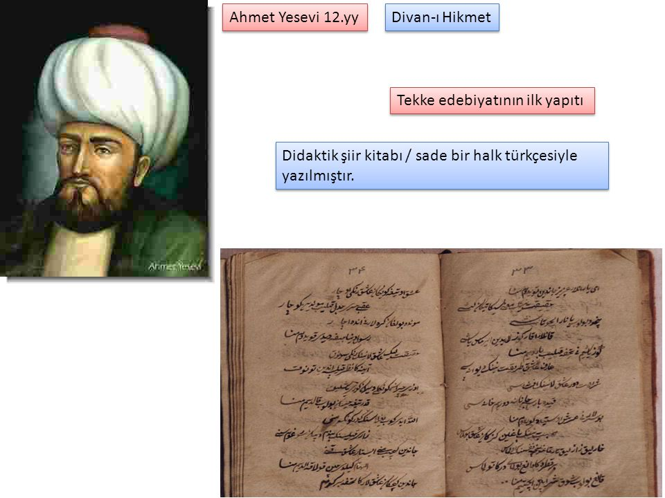 Ahmet Yesevi 12.yy Divan-ı Hikmet. Tekke edebiyatının ilk yapıtı.