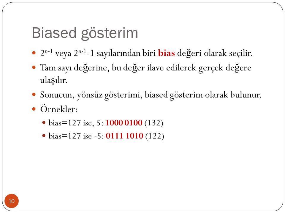 Biased gösterim 2n-1 veya 2n-1-1 sayılarından biri bias değeri olarak seçilir. Tam sayı değerine, bu değer ilave edilerek gerçek değere ulaşılır.