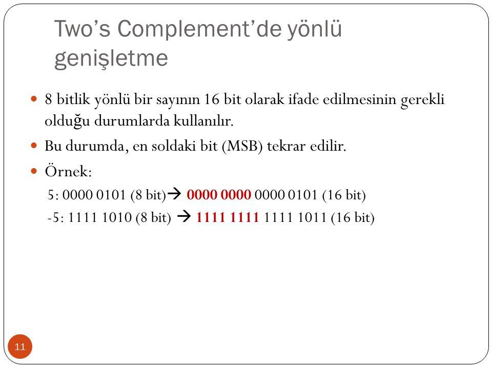 Two's Complement'de yönlü genişletme