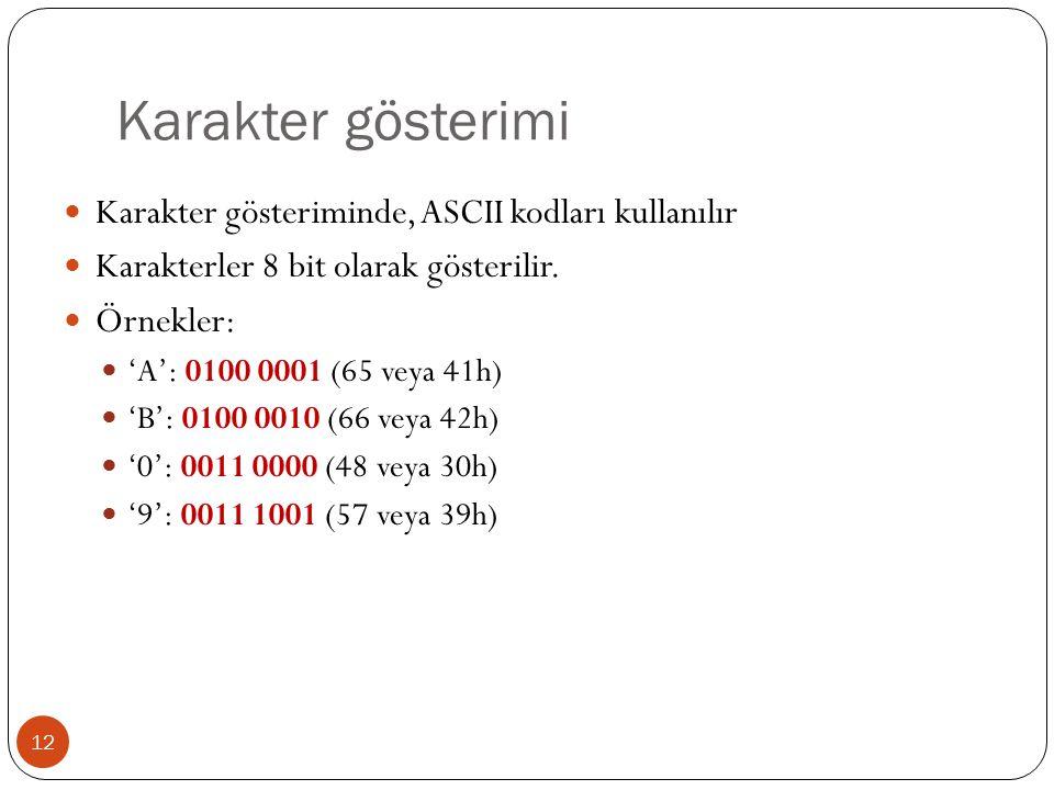 Karakter gösterimi Karakter gösteriminde, ASCII kodları kullanılır