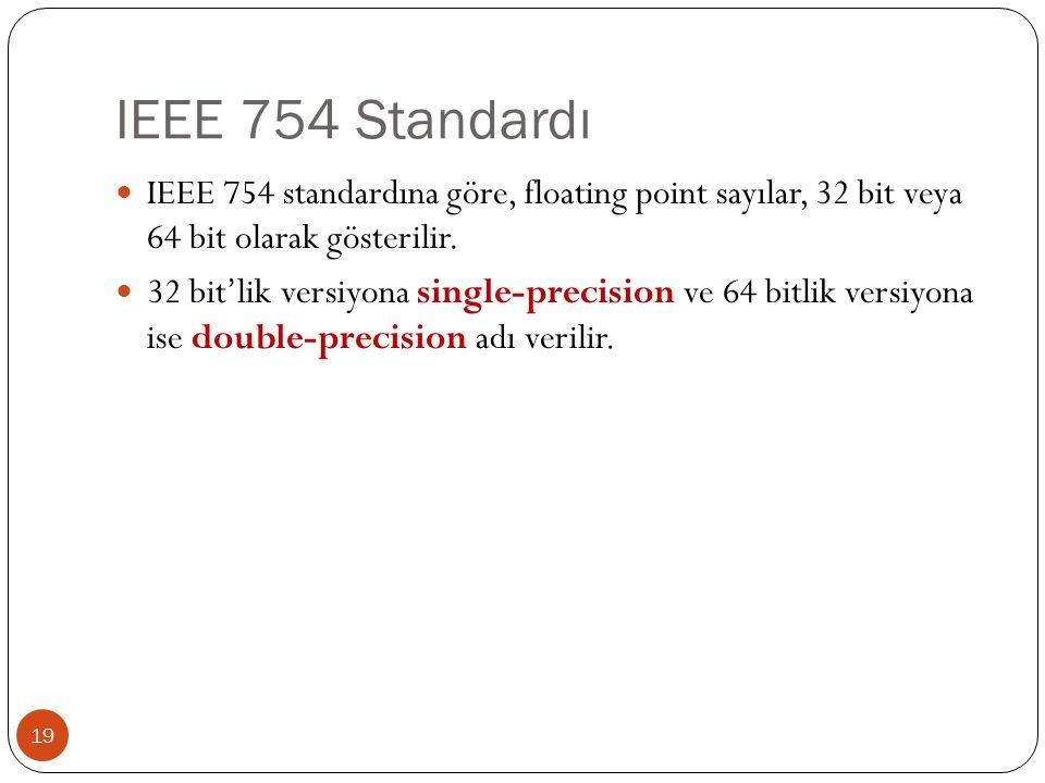 IEEE 754 Standardı IEEE 754 standardına göre, floating point sayılar, 32 bit veya 64 bit olarak gösterilir.