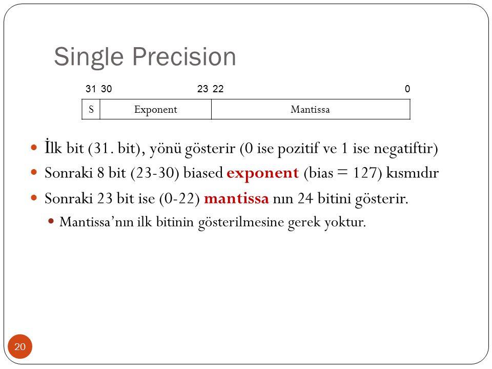Single Precision 31. 30. 23. 22. S. Exponent. Mantissa. İlk bit (31. bit), yönü gösterir (0 ise pozitif ve 1 ise negatiftir)