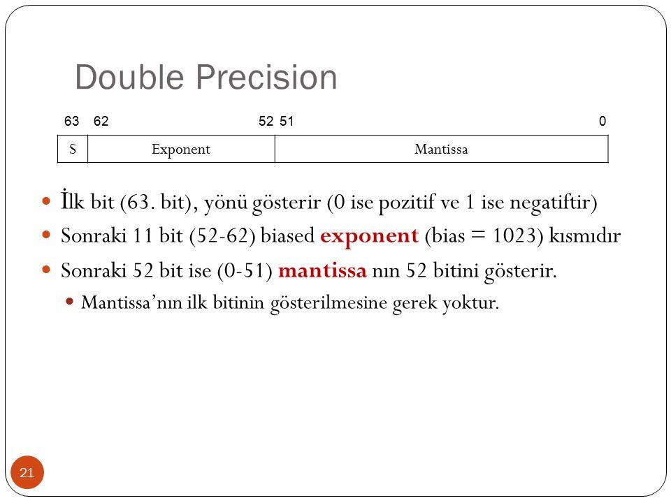 Double Precision 63. 62. 52. 51. S. Exponent. Mantissa. İlk bit (63. bit), yönü gösterir (0 ise pozitif ve 1 ise negatiftir)