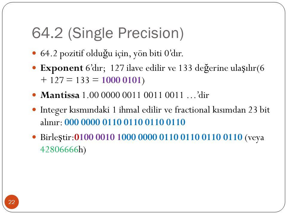 64.2 (Single Precision) 64.2 pozitif olduğu için, yön biti 0'dır.