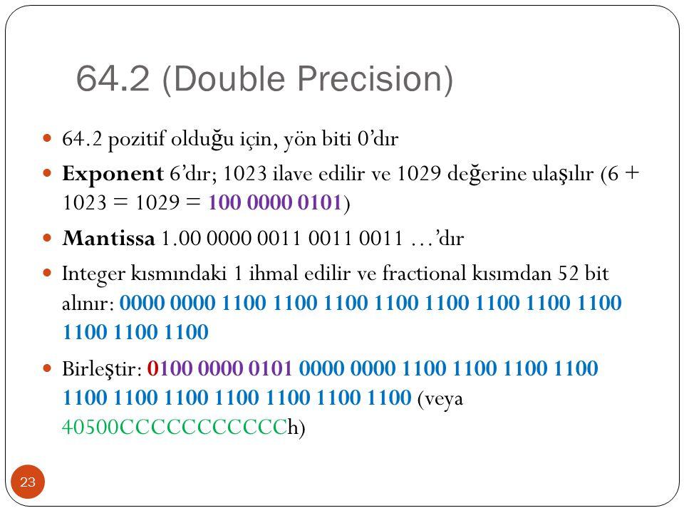 64.2 (Double Precision) 64.2 pozitif olduğu için, yön biti 0'dır