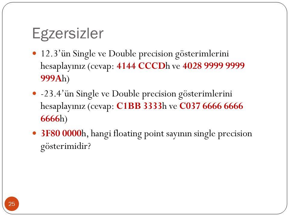 Egzersizler 12.3'ün Single ve Double precision gösterimlerini hesaplayınız (cevap: 4144 CCCDh ve 4028 9999 9999 999Ah)